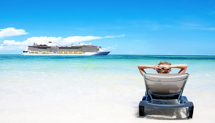 Cruise vacation concept. Cruise ship in the sea near the tropica