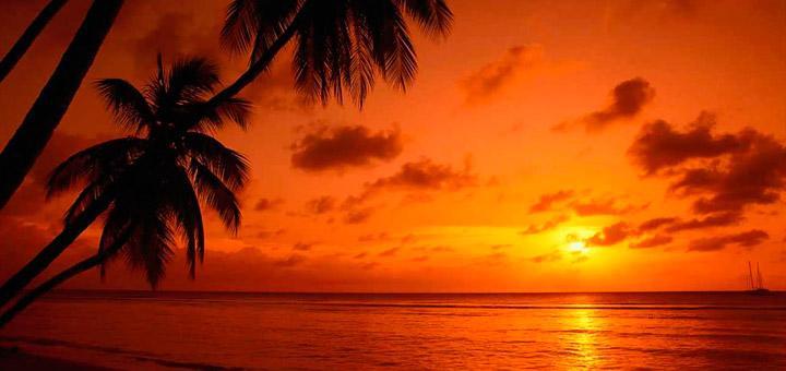las vacaciones en el Caribe ofrecen grandes puestas de sol